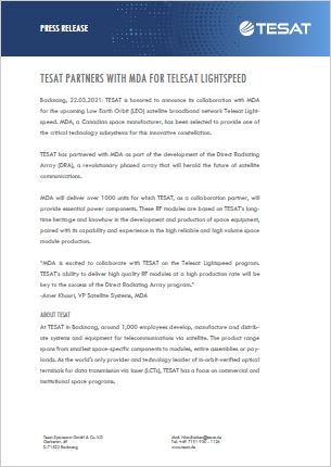 210322 PR TESAT partners with MDA thumb