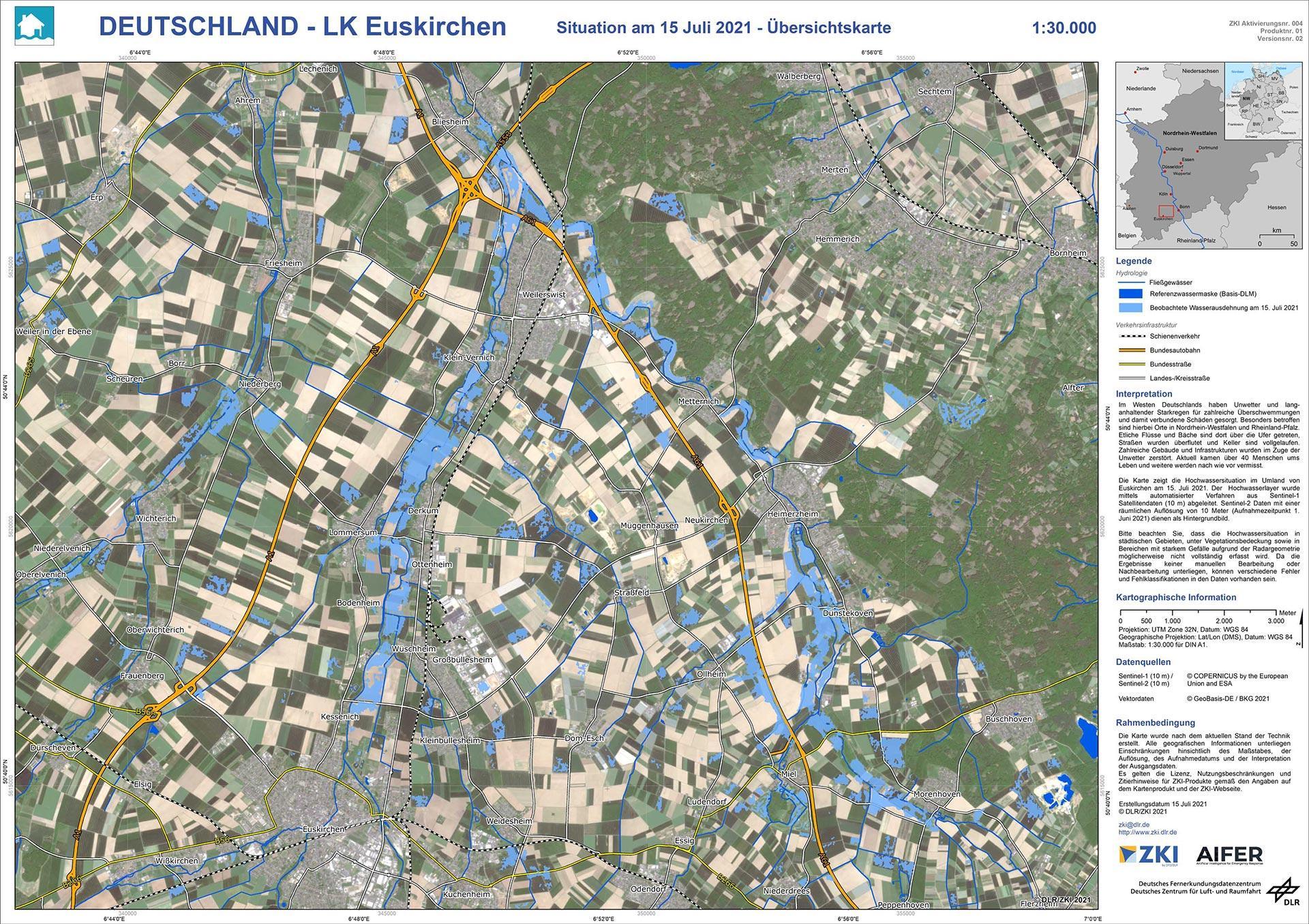 Hochwasserlage in Euskirchen © DLR
